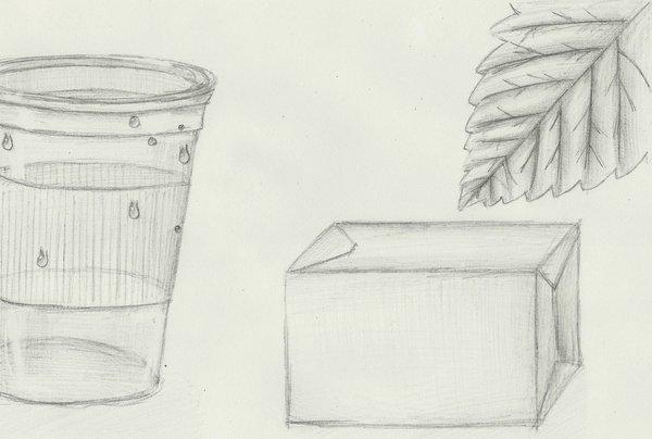 DIBUJO A LAPIZ (vaso,caja,hoja) 2.3 D Por Alal-Ag