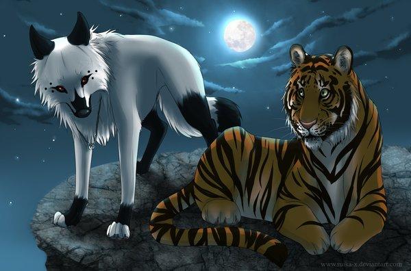 Lobo y tigre en la noche por Suika-X   Dibujando