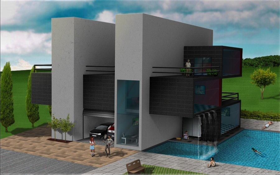 Casa de piscina por balonyshow dibujando for Apartamentos en mazagon con piscina