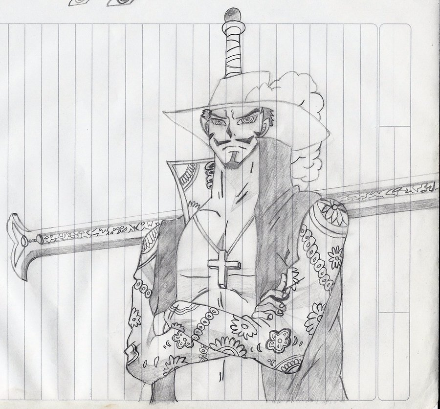 Dibujo de dracule mihawk one piece por aleman95 dibujando for One piece dibujos