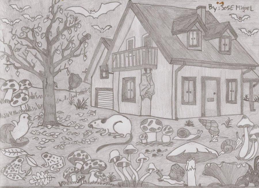 Casa De Campo Encantada Con Setas Venenosas Y Hongos Animales Que