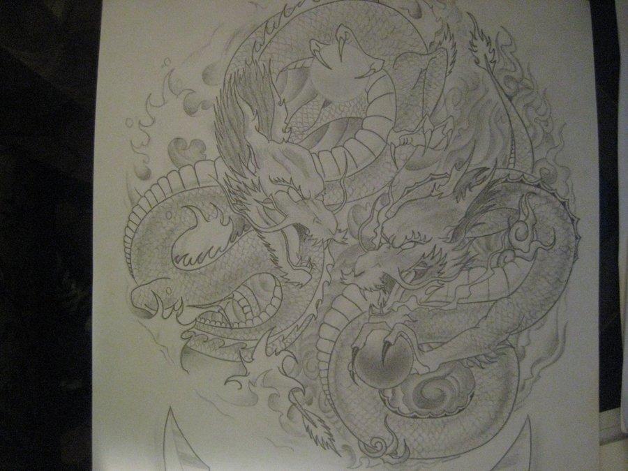 Dragones Yin Yang Fuego Y Agua Por Amaubri037 Dibujando