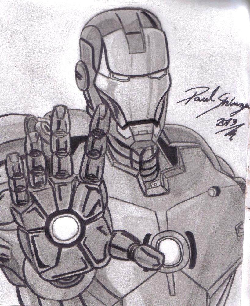 dibujo de iron man version anime hecho por paul shinzen