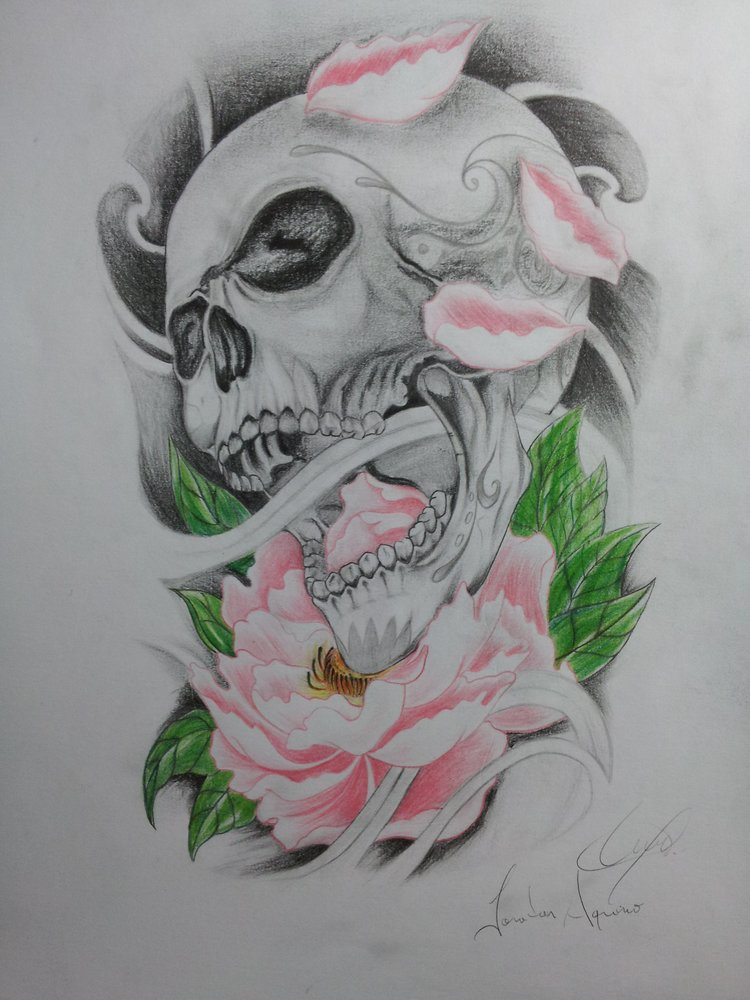 calavera sobre flor de lotto por yona dibujando