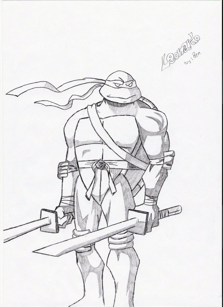 Leonardo Tortugas Ninja Por Ren Alto Dibujando