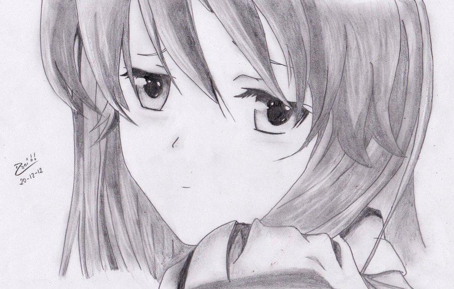 Chica Anime Triste A Lapiz