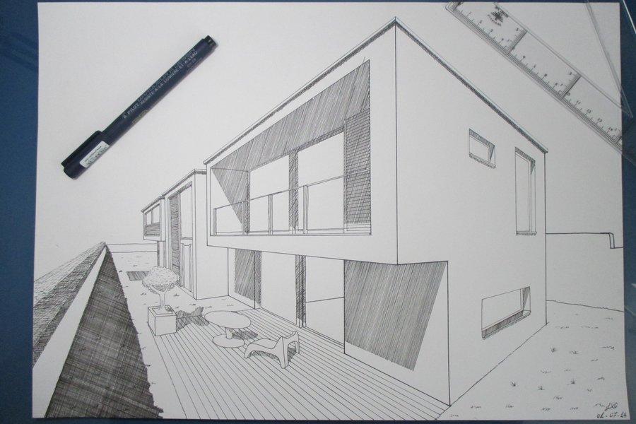 Casas modernas a lapiz las casas de los arquitectos for Casa moderna wagas