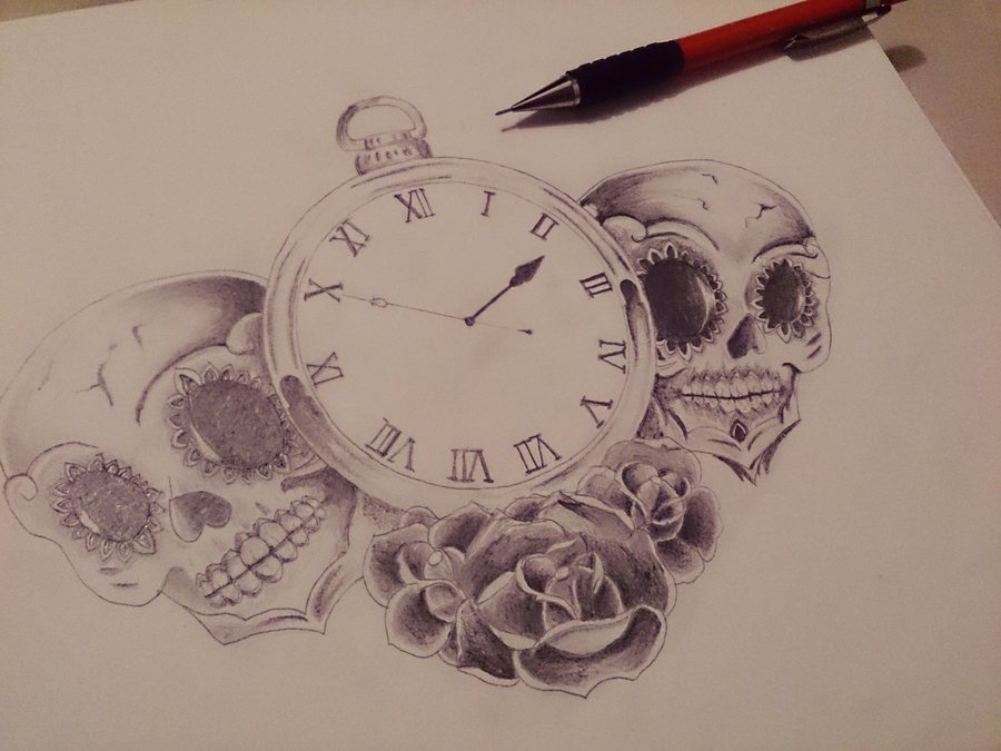 Calaveras Reloj Y Rosas Por Tattoo Fl Dibujando