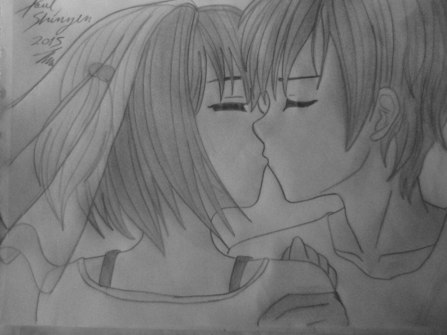 Dibujo Anime Besandose 2