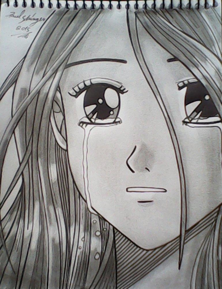 dibujo chica anime llorando por shinzen | Dibujando