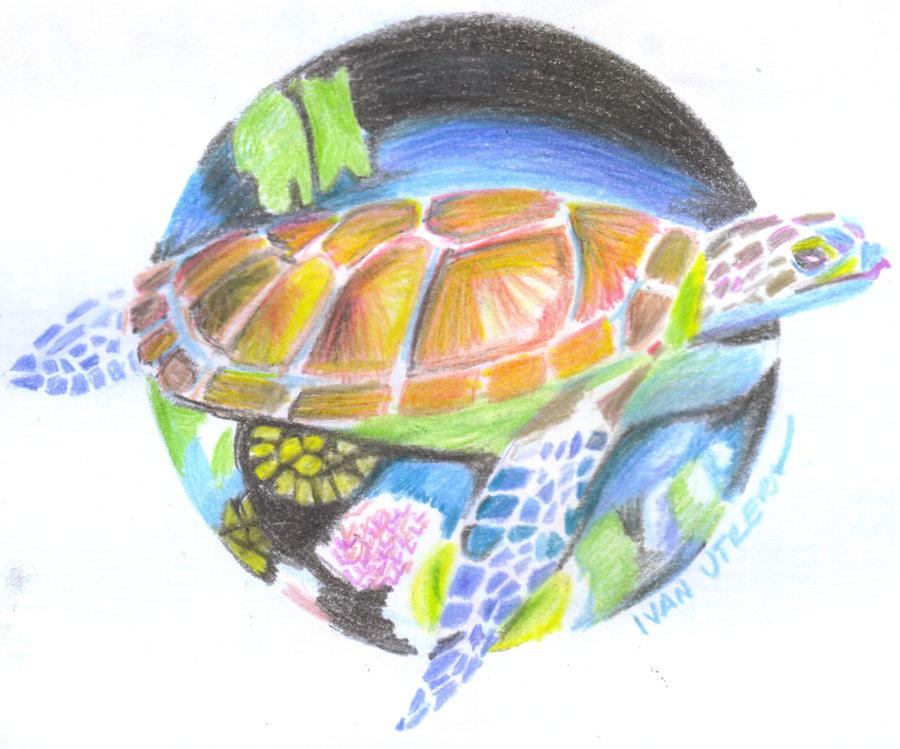 tortuga en lapices de colores por ivanutrera | Dibujando