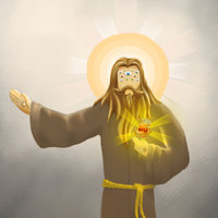 A nasty hairy Jesus with many eyes