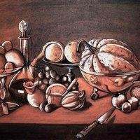 Naturaleza muerta con frutas, calabaza y un cuchillo