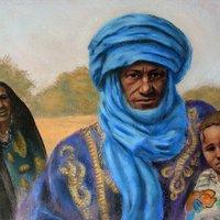 Familia tuareg, trabajo perteneciente a la exposicion sobre tema arabe.