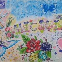 Mariposas,hada,flores y corazones.^^