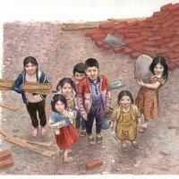 Niños en suburbio