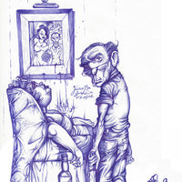 LA SUERTE DE JEREMIAS BARROW. Dibujo a bolígrafo.