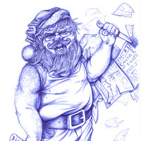 SANTA CLAUS IS COMING TO TOWN. Dibujo a boli