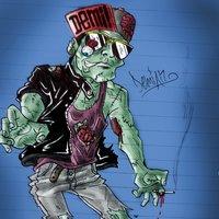 un zombie con toda al buena onda...