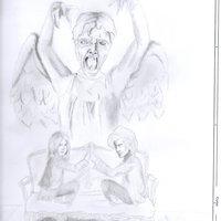 El Doctor y la señorita Pond, acechados por el angel llorón