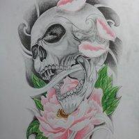 Calavera sobre flor de Lotto