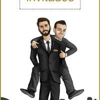 Ilustración de personajes para invitación de boda
