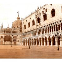 Plaza de San Marcos, Venecia (Tinta aguada)