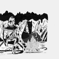 Lancelot de noche junto a una hoguera,por RUBIX