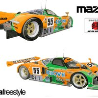 Mazda 787b 24 horas de Le Mans 1991, acuarela técnica mixta