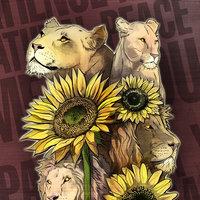 ilustración de leones y girasoles por Venc Design