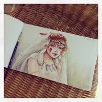 Dibujo diario - Día 2 - Mononoke Hime