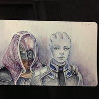 Dibujo diario - Día 4 - Tali y Liara
