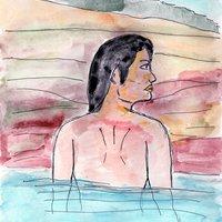 Mujer en el onsen