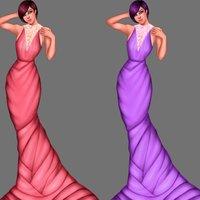 Ilustración de vestido en varios colores