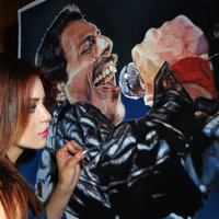 Freddie Mercury por RoxanaBO Arts (proceso)