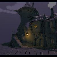 Toon houses night version.