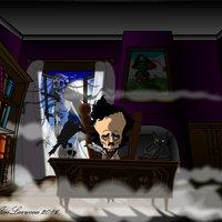 Caricatura Edgar Allan Poe @JonLarrocea