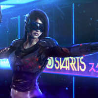 Cyberpunk mercenary girl