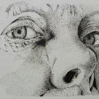 viejo retrato, tecnica de punteo