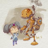 robot y nena
