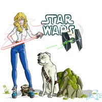 Retrato con perro y star wars