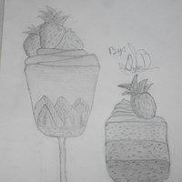 Postre en copas con mousse de chocolate, pastel y fresas