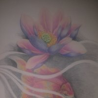 Pez con flor de loto,Todo en lápiz !!!