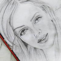 Mujer Retrato, lápiz Carboncillo