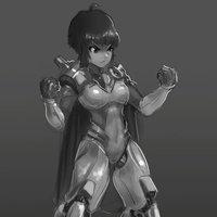 Boceto o diseño random Chica cyborg