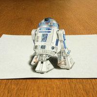 R2D2 Dibujo 3D Star Wars