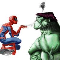 Spiderman y Hulk (dibujo digital)