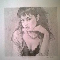 Retrato de la cantante Olivia Lufkin (reproducción a partir de una foto)