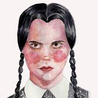Illustration Wednesday Addams/ Ilustración Miércoles Addams.