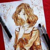 11-06-2016 Dibujo pintado con café para mi novia